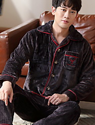 cheap -Men's Suits Nightwear Black Navy Blue Gray L XL XXL
