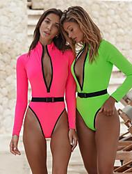 cheap -Women's One Piece Swimsuit Solid Color Swimwear Swimwear Blushing Pink Green Quick Dry High Elasticity Long Sleeve - Swimming Surfing Beach Spring Summer / Leotard / Onesie / Bikini / Peplum Swimsuit