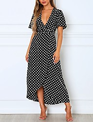 cheap -Women's Red Black Dress Swing Geometric V Neck S M