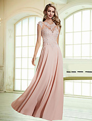 cheap -A-Line Empire Pink Wedding Guest Formal Evening Dress Jewel Neck Sleeveless Floor Length Chiffon Lace with Appliques 2020