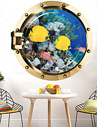 cheap -Deep Sea Yellow Croaker Wall Sticker Multicolor Flat Removable Underwater World 3D PVC Wallpaper Home Decorations