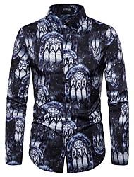 cheap -Men's Party Club Rock / Street chic Shirt - Galaxy / Graphic Black & White, Print Black