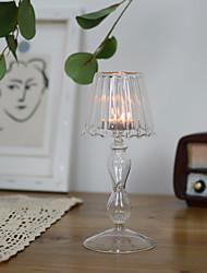 Недорогие -1 шт. Европейский стиль подсвечник прозрачное стекло настольная лампа формы свадьбы романтический ужин при свечах домашнего декора