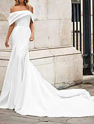 cheap -Mermaid / Trumpet Wedding Dresses Off Shoulder Court Train Satin Short Sleeve Country Plus Size with Draping 2020