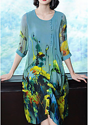 cheap -Women's Shift Dress - Floral Green M L XL XXL