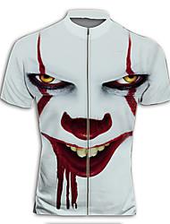 cheap -Men's Daily Spring & Summer Regular Jacket, Geometric Stand Short Sleeve Polyester White