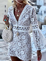 cheap -Women's White Dress Sexy Party Beach Shift Solid Color Bell Sleeve Deep V Lace Embroidery Hollow S M