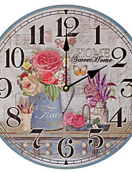 cheap -1pcs Rural Style Old Wooden Wall Clock Painted Bedroom Wall Clock