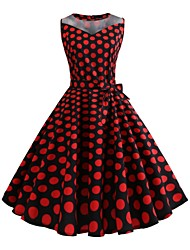 cheap -Audrey Hepburn Country Girl Plaid Retro Vintage 1950s Wasp-Waisted Summer Dress Masquerade Women's Costume Red black Vintage Cosplay School Office Festival Sleeveless Medium Length A-Line
