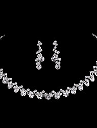 cheap -Women's Jewelry Set Bridal Jewelry Sets Tennis Chain Simple European Fashion Elegant Earrings Jewelry Silver For Wedding Engagement Gift Formal Prom 1 set