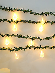cheap -1.5M 10Leds Ball With Green Leaf Fairy String Light AA Battery Powered Flexible Garland Light For Wedding Valentine's Day Event Party Led Decor Lighting (come without battery)