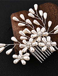 cheap -Women's Hair Combs For Event / Party Engagement Wedding Party Flower Floral Style Imitation Pearl Copper Alloy White  / Silver 1pc