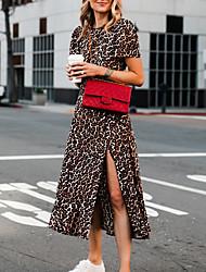 cheap -Women's Brown Dress A Line Leopard S M