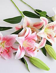 Недорогие -1 ветка моделирования цветок 3 голова рука чувство лилии ложный цветок свадьба украшение дома цветок
