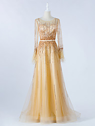 cheap -A-Line Luxurious Gold Prom Formal Evening Dress Illusion Neck Long Sleeve Sweep / Brush Train Tulle with Beading 2020 / Illusion Sleeve