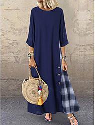cheap -Women's Plus Size A-Line Dress Maxi long Dress - 3/4 Length Sleeve Color Block Spring Summer Casual Loose Orange Green Navy Blue M L XL XXL XXXL XXXXL XXXXXL