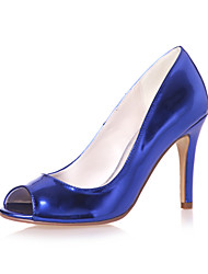cheap -Women's Wedding Shoes Stiletto Heel Peep Toe Patent Leather Minimalism Spring & Summer Gold / Royal Blue / Silver / Party & Evening