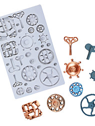 cheap -Retro industrial machinery gear chocolate mold fondant cake silicone mold baking utensils