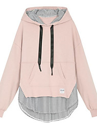 cheap -Women's Hoodie Color Block Basic Loose Black Blue Blushing Pink S M L XL XXL