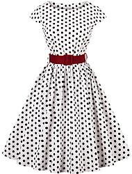 cheap -Women's White Black Dress A Line Polka Dot Check S M