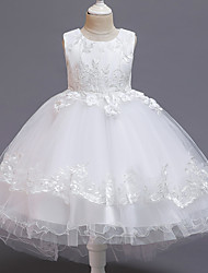 cheap -Princess Dress Flower Girl Dress Girls' Movie Cosplay A-Line Slip Cosplay Vacation Dress White / Red / Pink Dress Halloween Carnival Masquerade Tulle Polyester