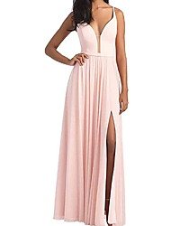 cheap -A-Line Plunging Neck Floor Length Chiffon Bridesmaid Dress with Tier