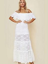 cheap -Women's Maxi White Dress A Line Solid Color Off Shoulder S M
