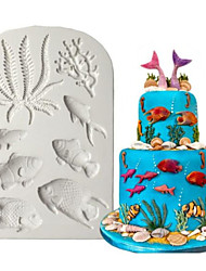 cheap -1pcs DIY Fondant Dried Pace Fish Mold Marine Animal Silicone Mold