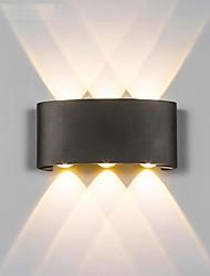 Недорогие -светодиодный настенный светильник 6 Вт вверх / вниз освещение крытый двуглавый изогнутый водонепроницаемый настенный светильник современная спальня лампа теплый белый свет