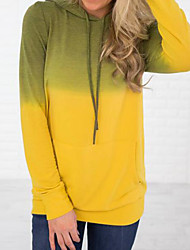 cheap -Women's Hoodie Tie Dye Casual / Basic Blue Yellow Blushing Pink Light Green Gray S M L XL
