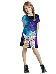cheap -Inspired by Galaxy Dress Cosplay Costume Polyster Print Dress For Girls'