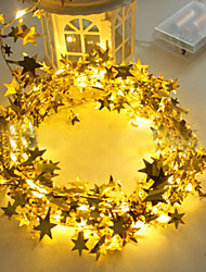 cheap -3M Golden Stars Led String Light Bright Stars For Home Wedding Decor Lamp DIY Hanging Garden Yard Lighting Powered By AAA Battery Box 1 set