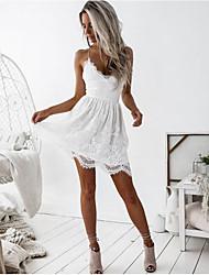 cheap -Women's White Black Dress Sheath Solid Color Strap L XL Slim