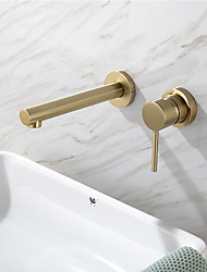 cheap -Bathroom Sink Faucet - Brushed Gold Brass Concealed Basin Faucet Hot & Cold Water Mixer Tap Single Handle Wall Mounted