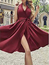 cheap -Women's Sheath Dress - Solid Color Wine Royal Blue Green S M L XL