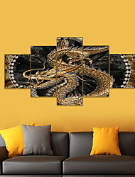 cheap -AMJ Hot Sale Chinese Dragon Five Joint Paintings Living Room Sofa Background Wall Decorative Canvas Painting Frameless Core