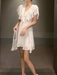 cheap -Women's Sheath Dress - Solid Color White Black One-Size
