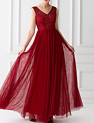 cheap -A-Line V Neck Floor Length Tulle Hot / Red Prom / Wedding Guest Dress with Beading / Sequin 2020