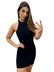 cheap -Women's Yellow Black Dress Bodycon Solid Color Halter Neck S M
