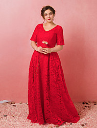 cheap -A-Line V Neck Floor Length Lace / Satin / Tulle Plus Size / Red Engagement / Formal Evening Dress with Bow(s) / Pleats 2020