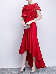 cheap -Mermaid / Trumpet Hot Red Wedding Guest Formal Evening Dress Jewel Neck Short Sleeve Asymmetrical Polyester with Ruffles 2020