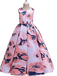 cheap -A-Line Round Floor Length Cotton Junior Bridesmaid Dress with Bow(s) / Pattern / Print / Ruching