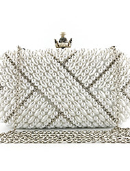 cheap -Women's Bags Polyester Evening Bag Crystals Chain Solid Color Wedding Bags Wedding Party Event / Party White Beige