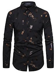 cheap -Men's Party Daily Basic Shirt - Geometric / Color Block Black & White, Sequins / Print Black