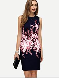 cheap -Women's Wine Blue Dress Sheath Print S M