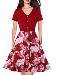cheap -Women's Red Blue Dress A Line Print V Neck S M