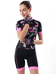 cheap -cheji® Women's Short Sleeve Cycling Jersey with Shorts Lycra Black Pink Bike Jersey Padded Shorts / Chamois Clothing Suit Breathable 3D Pad Quick Dry Reflective Strips Sweat-wicking Sports / Stretchy
