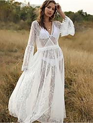 cheap -Women's Swing Dress - Solid Color White S M L XL