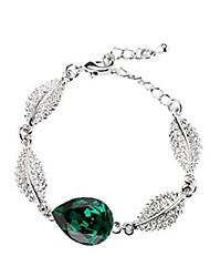 cheap -Women's Green AAA Cubic Zirconia Bracelet Pear Cut Drop Sweet Fashion Alloy Bracelet Jewelry Silver For Festival