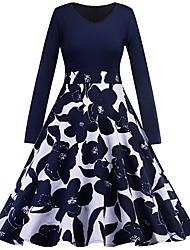 cheap -Women's Navy Blue Dress A Line Floral V Neck S M